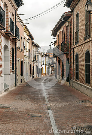 Street of Alaejos with dome in the background