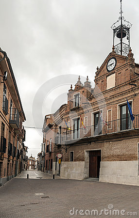Street of Alaejos with town hall