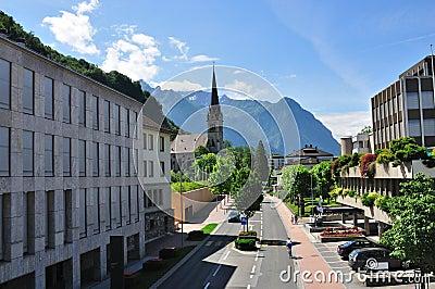 Street of alpine town, Vaduz, Lichtenstein