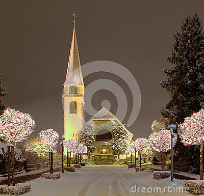 Free Street And Church, Illuminated For Christmas Royalty Free Stock Photography - 34263347