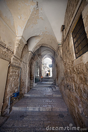 Street in the Arab quarter of the Old City of Jeru