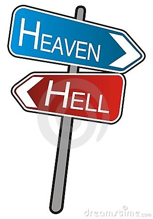 Street arrows sign, Heaven - Hell