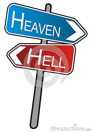 Street arrows sign, Heaven - Hell