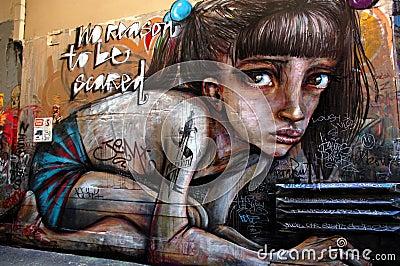 Street art in Australia, graffiti wall in Melbourne Editorial Stock Photo