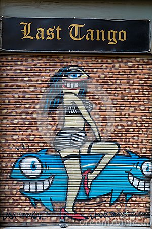 Street art at El Born district, on March 13, 2013 in Barcelona, Spain