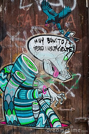 Street art at El Born district, on March 22, 2013 in Barcelona, Spain