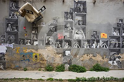 Street art at El Born district, on March 09, 2013 in Barcelona, Spain Editorial Photo