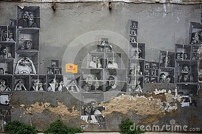 Street art at El Born district, on March 09, 2013 in Barcelona, Spain Editorial Stock Photo