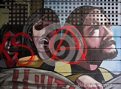Street art at El Born district, on March 14, 2013 in Barcelona, Spain