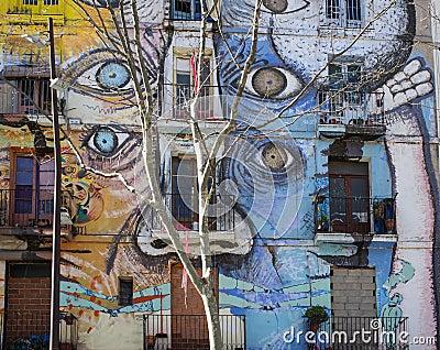 Street art in El Raval district, on March 10, 2013 in Barcelona, Spain