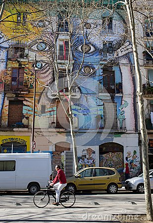 Street art in El Raval district, on March 10, 2013 in Barcelona, Spain Editorial Photo