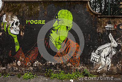 Spanish s artist hogre  Murale in rome Editorial Photography