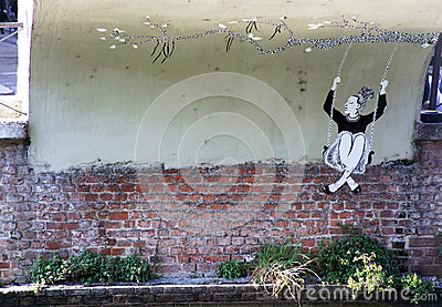 Street art on Navigli Editorial Photo