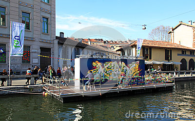 Street art on Navigli Editorial Stock Photo