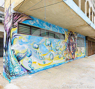 "Free Street Art Project ""70110 : Ban Pong Urban Art Terminal 1/201 Royalty Free Stock Photo - 95057925"