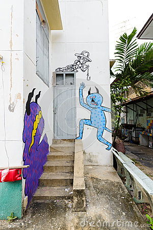 "Free Street Art Project ""70110 : Ban Pong Urban Art Terminal 1/201 Stock Photography - 95058202"
