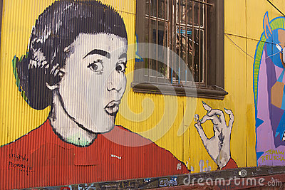 Street Art of Valparaiso in Chile Editorial Photography