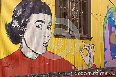 Street Art of Valparaiso Editorial Photography