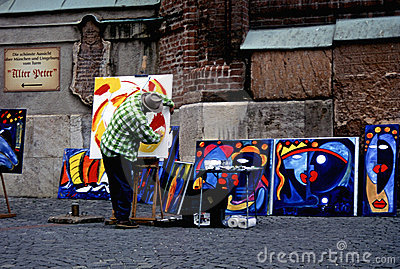 Street artist in munich Editorial Stock Photo