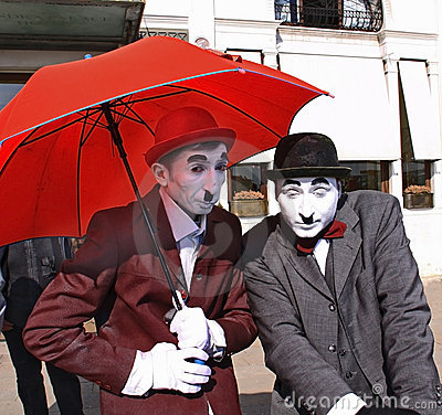 Street artists as Charlot Editorial Image