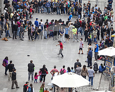 Street artists and crowd in Santiago de Chile Editorial Stock Photo