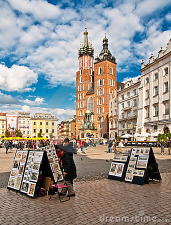 Street artists at Krakow s Main City Square Editorial Photo
