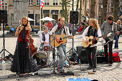 Street band in Bruges (Belgium) Editorial Stock Photo