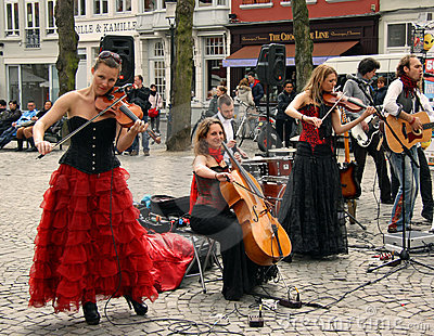 Street band in Bruges (Belgium) Editorial Image