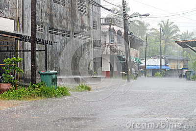 Street of Bang Muang town at heavy rain