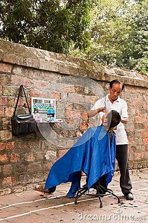 Street Barber Editorial Image