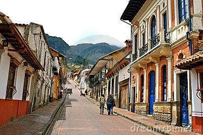 Street in Bogotá´s historic center La Candelaria Editorial Photography