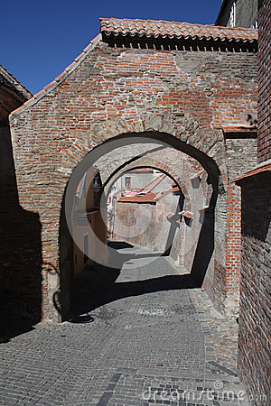 Street with brick arches