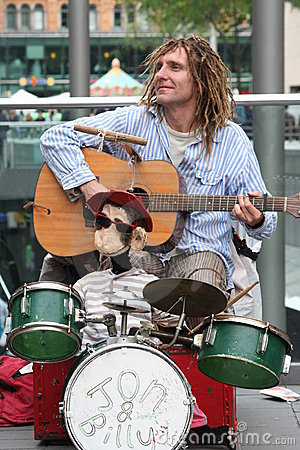 Street busker Editorial Stock Photo