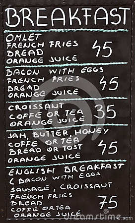 Free Street Cafe Breakfast Menu Written In Chalk On A Blackboard Stock Photography - 45174522