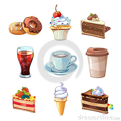 Free Street Cafe Products Vector Cartoon Set. Chocolate, Cupcake, Cake, Cup Of Coffee, Donut, Cola And Ice Cream Royalty Free Stock Image - 66139196