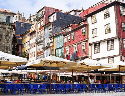 Street cafe in Ribeira, Porto Editorial Stock Photo