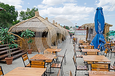 Street cafe on the waterfront in Feodosia Editorial Image