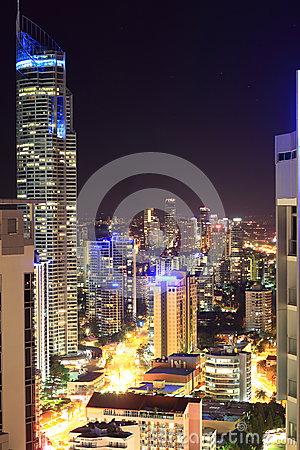 Large city street canyon aerial view at night Editorial Stock Photo