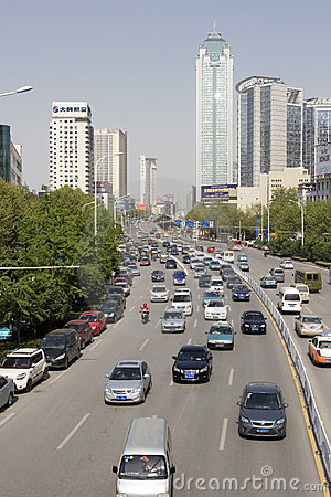 Street with cars in Wuhan of China Editorial Stock Image