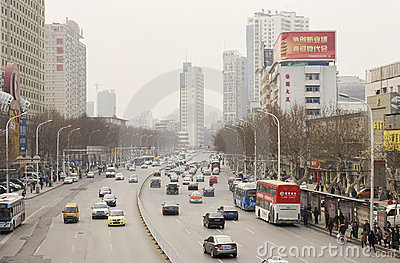 Street with cars in Wuhan of China Editorial Photography