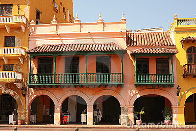 Street of Cartagena de Indias, Colombia Editorial Stock Photo