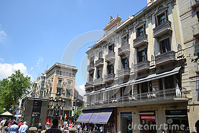 Street in center of Barcelona Editorial Stock Photo