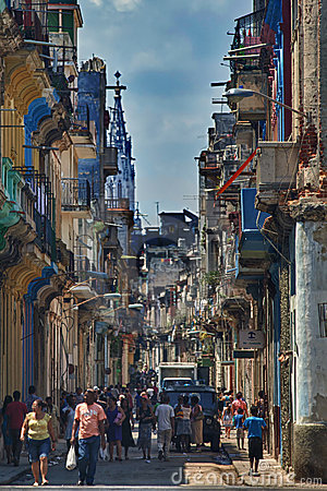 Street in central Havana, Cuba Editorial Photo