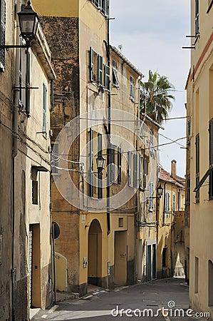 Street in city center, imperia