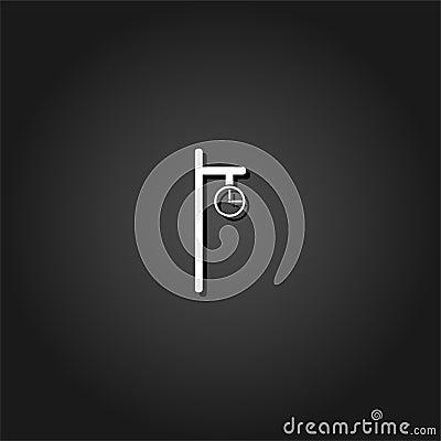 Street clock icon flat. Vector Illustration