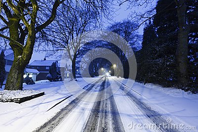 Highway road covered in snow
