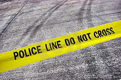 Street Crime Scene with Police Line Tape