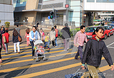 Street Crossing in Hong Kong Editorial Stock Image