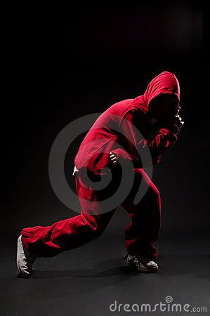 Street dancer in red