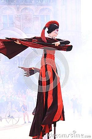 Street dancer on stilts dutch city deventer
